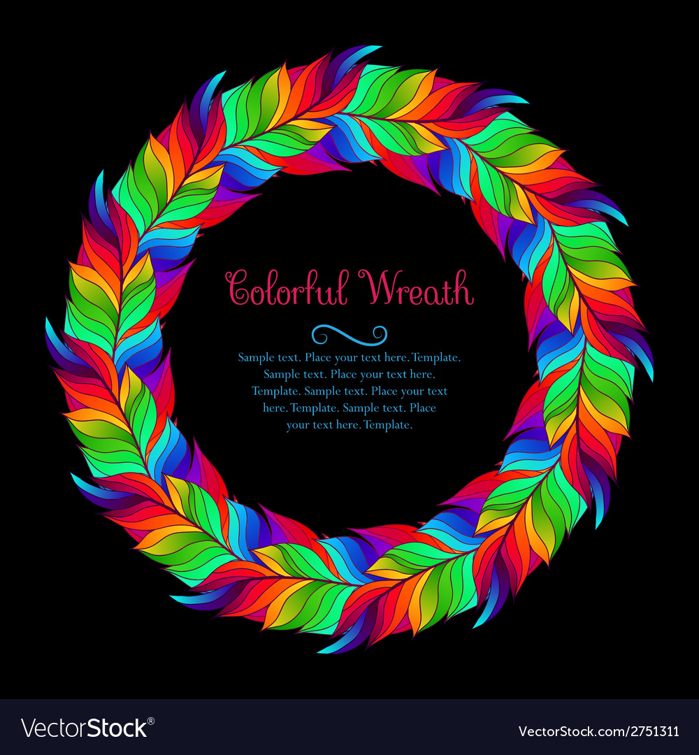 Colorful wreath of rainbow feathers vector | Price: 1 Credit (USD $1)