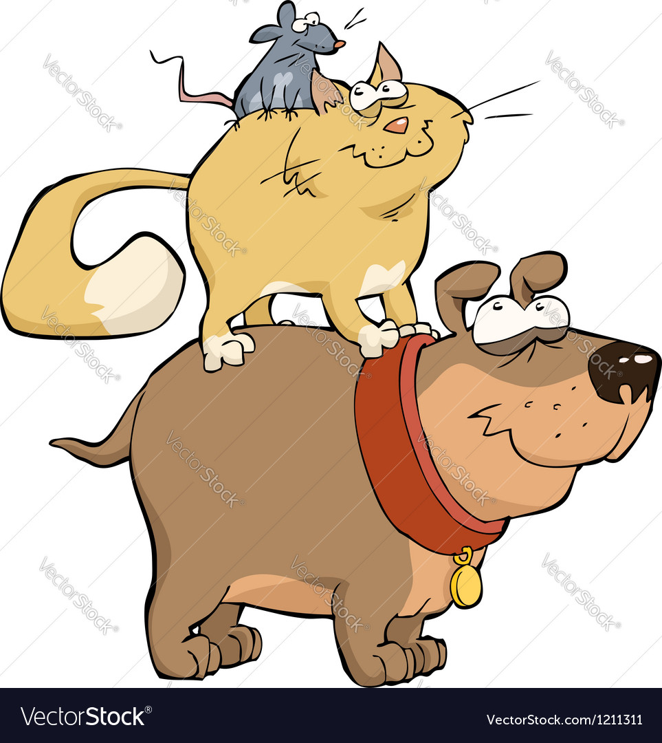 Dog cat and mouse vector