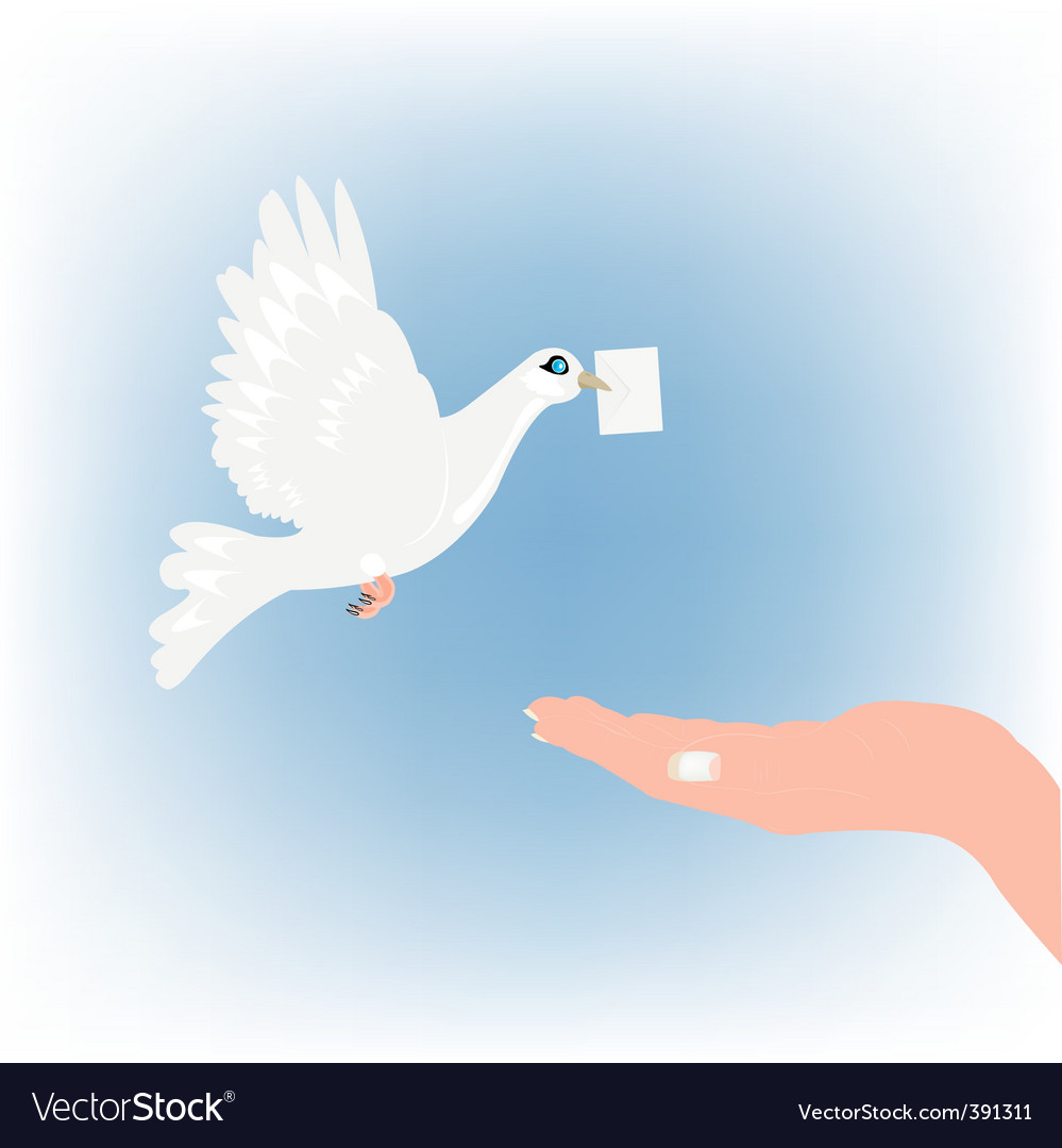 Dove with letter and palm vector | Price: 1 Credit (USD $1)