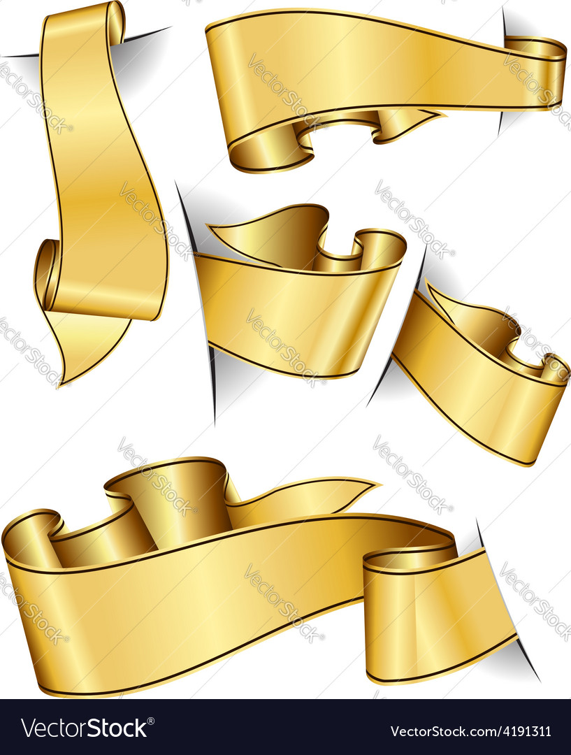 Gold ribbon collection vector | Price: 3 Credit (USD $3)