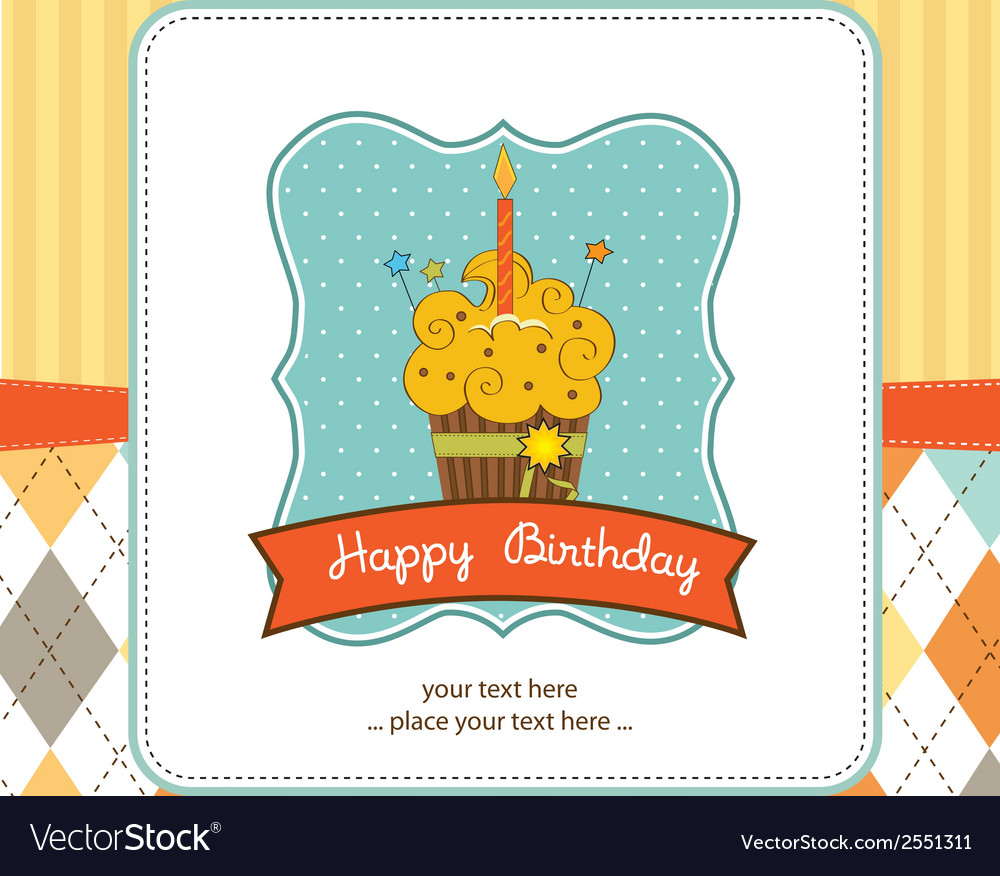 Happy birthday cupcake vector | Price: 1 Credit (USD $1)