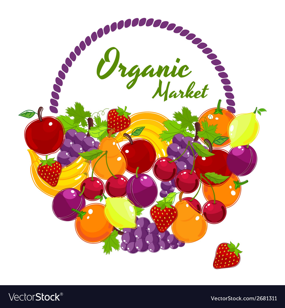 Organic market colorful poster design vector | Price: 1 Credit (USD $1)