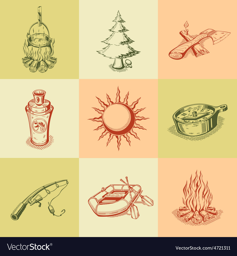 Set of different camping icons vector   Price: 1 Credit (USD $1)