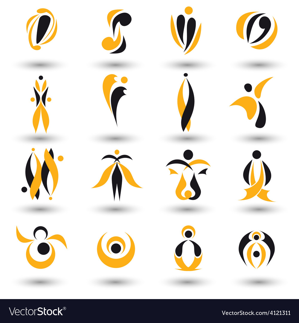 Set of different yellow abstract flat elements vector | Price: 1 Credit (USD $1)