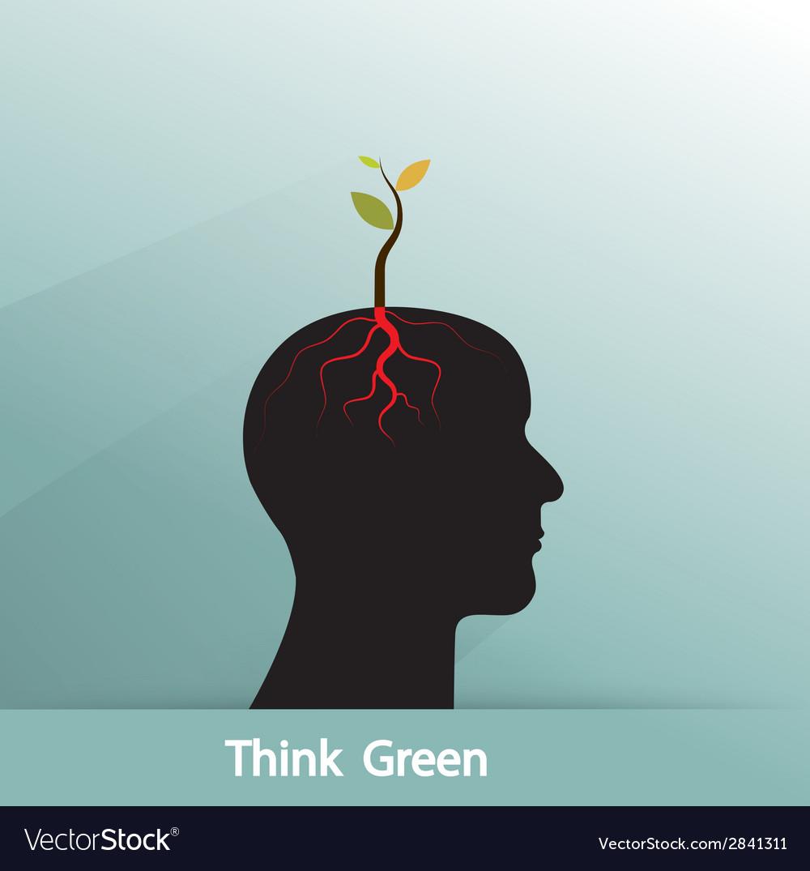 Tree of green idea shoot grow on human symbol vector | Price: 1 Credit (USD $1)
