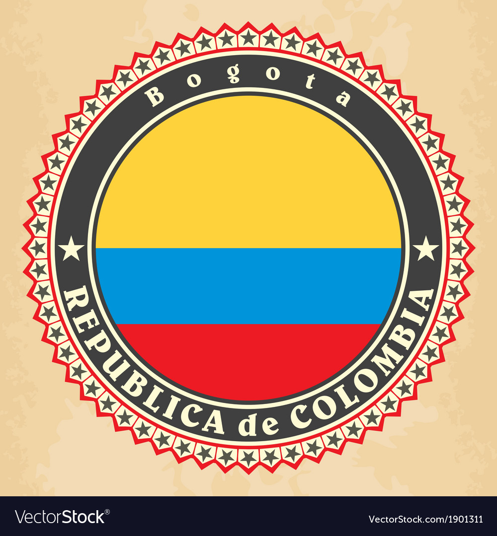 Vintage label cards of colombia flag vector | Price: 1 Credit (USD $1)