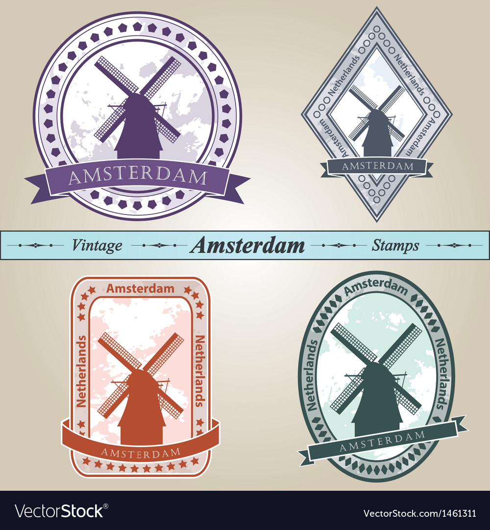 Vintage stamp amsterdam vector | Price: 1 Credit (USD $1)