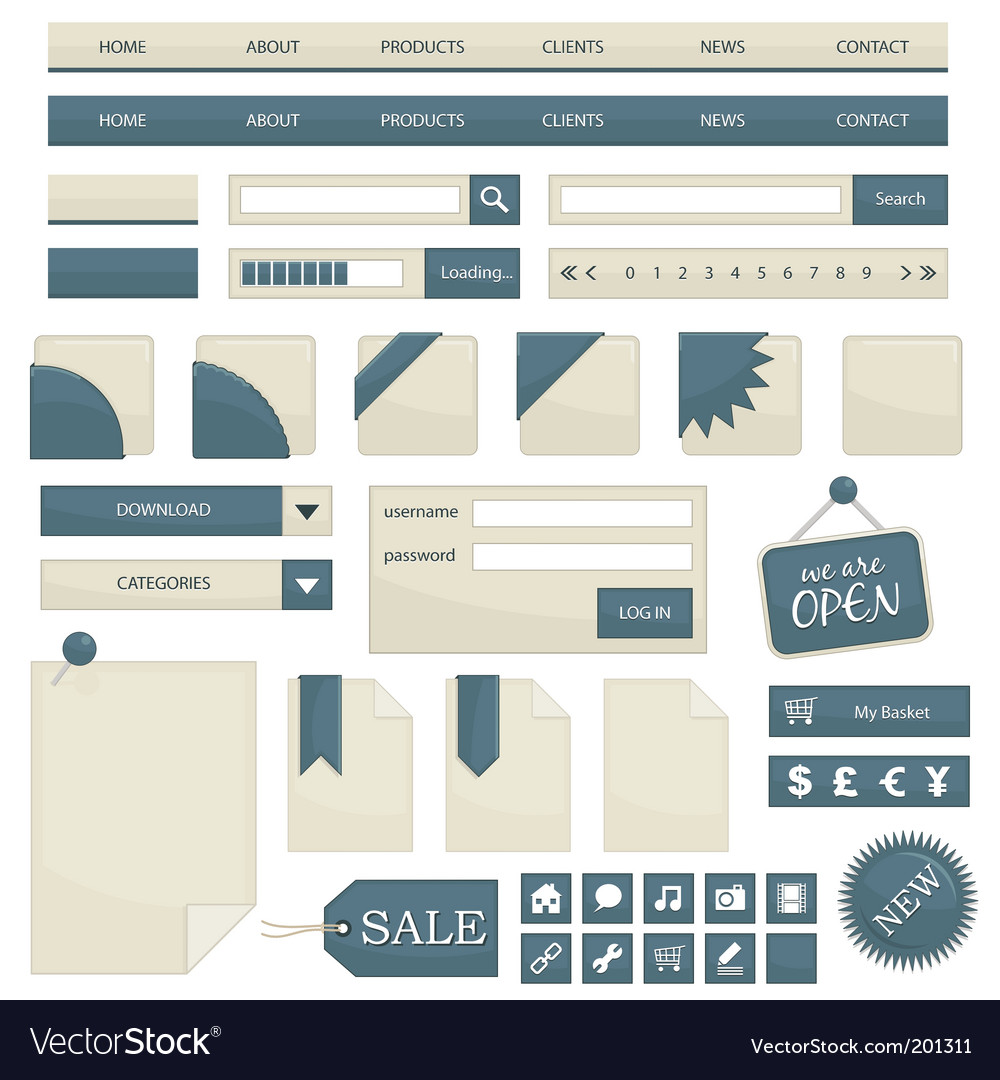 Web objects vector | Price: 1 Credit (USD $1)