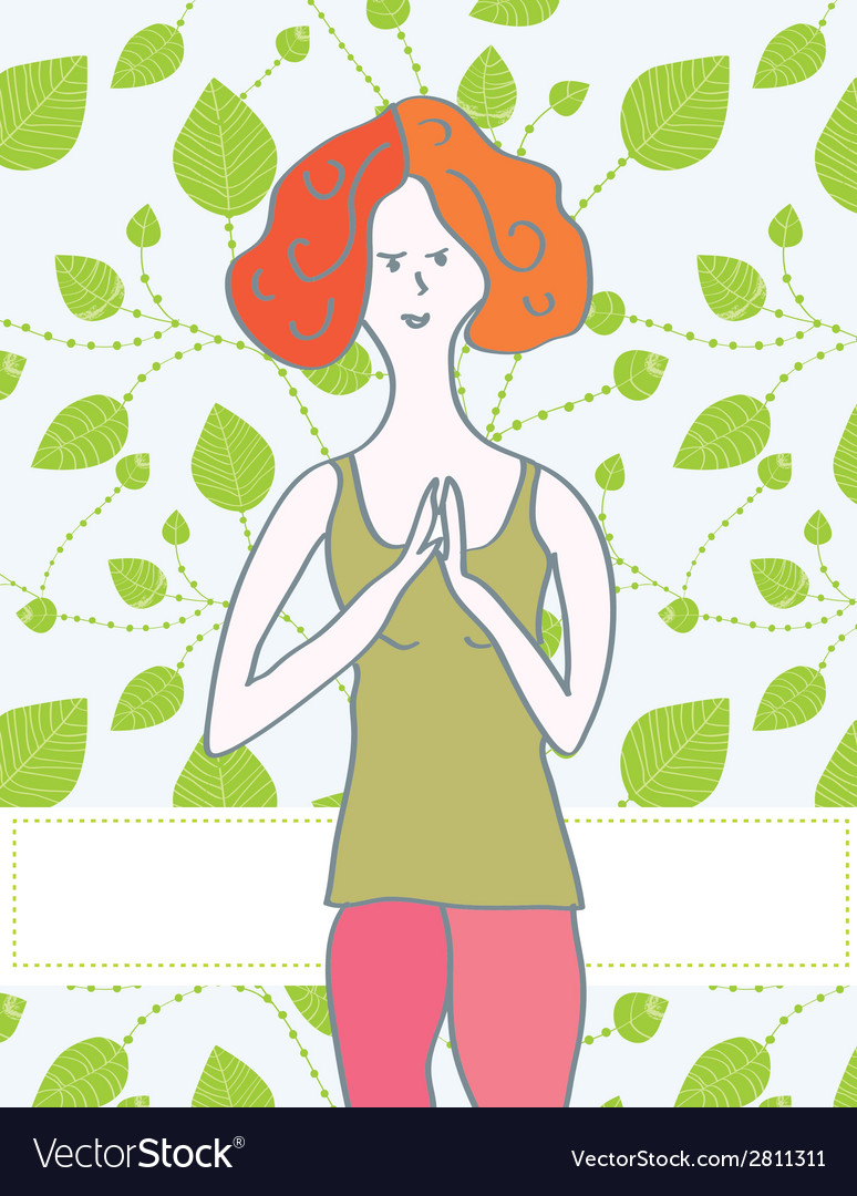 Yoga banner with girl and leaves vector | Price: 1 Credit (USD $1)