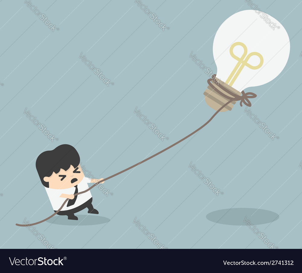 Businessman pulling bulb with rope vector | Price: 1 Credit (USD $1)
