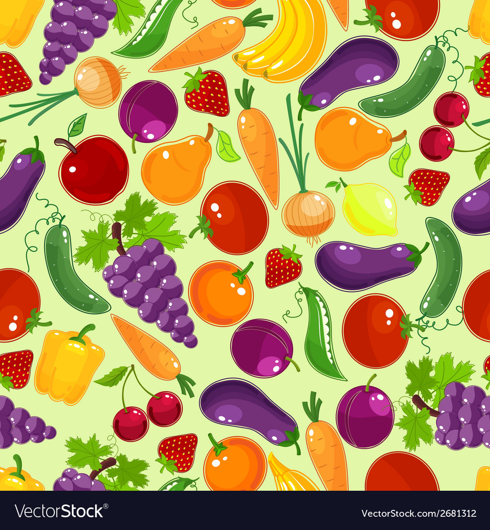 Colorful fruit and vegetables seamless pattern vector | Price: 1 Credit (USD $1)