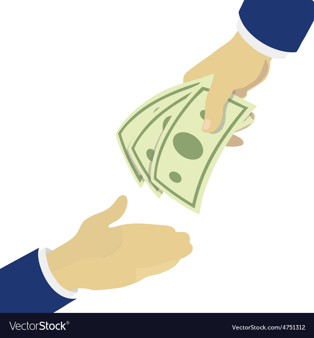 Creative hand holding green banknotes vector | Price: 1 Credit (USD $1)