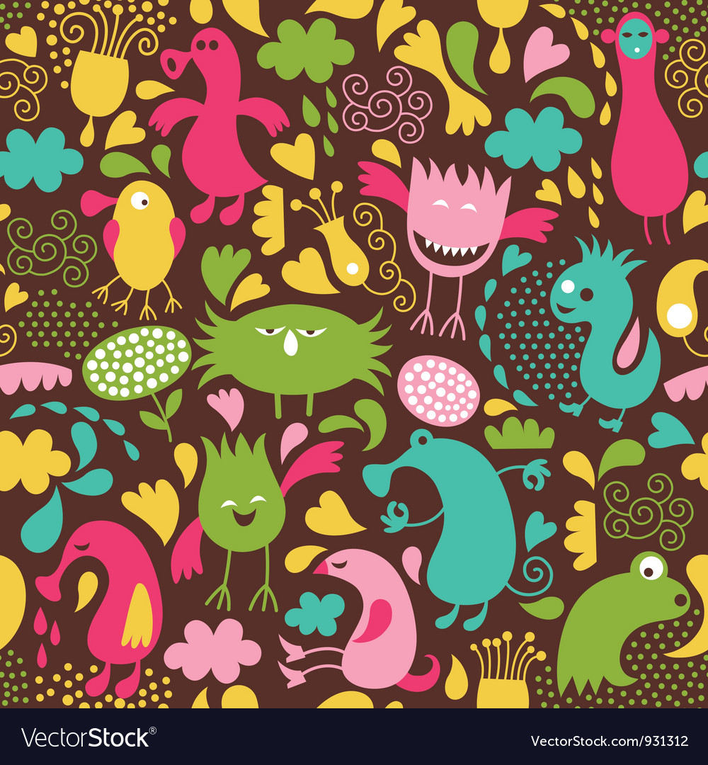 Cute monster background vector | Price: 3 Credit (USD $3)