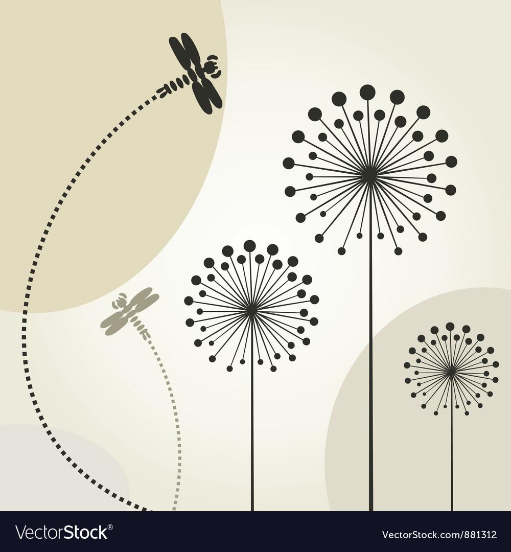 Decorative dragonflies background vector | Price: 1 Credit (USD $1)