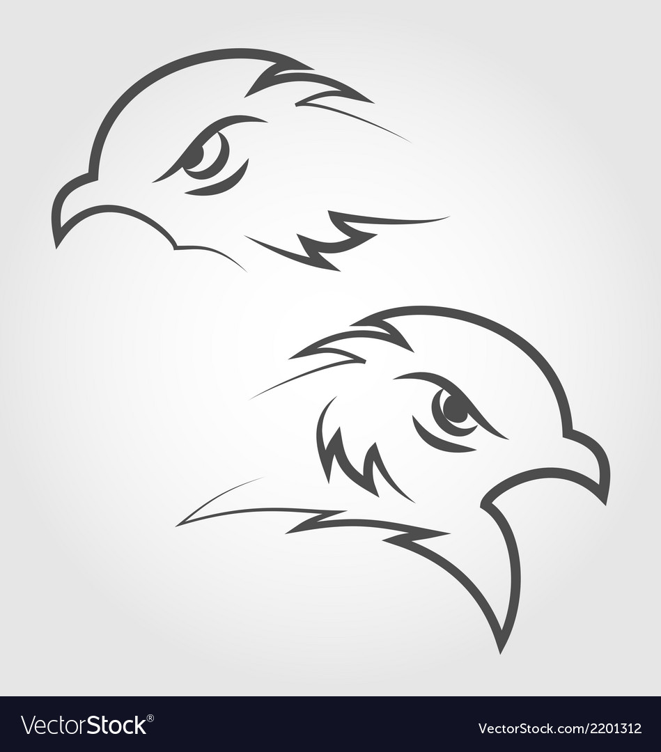 Icon eagle heads outline style vector | Price: 1 Credit (USD $1)