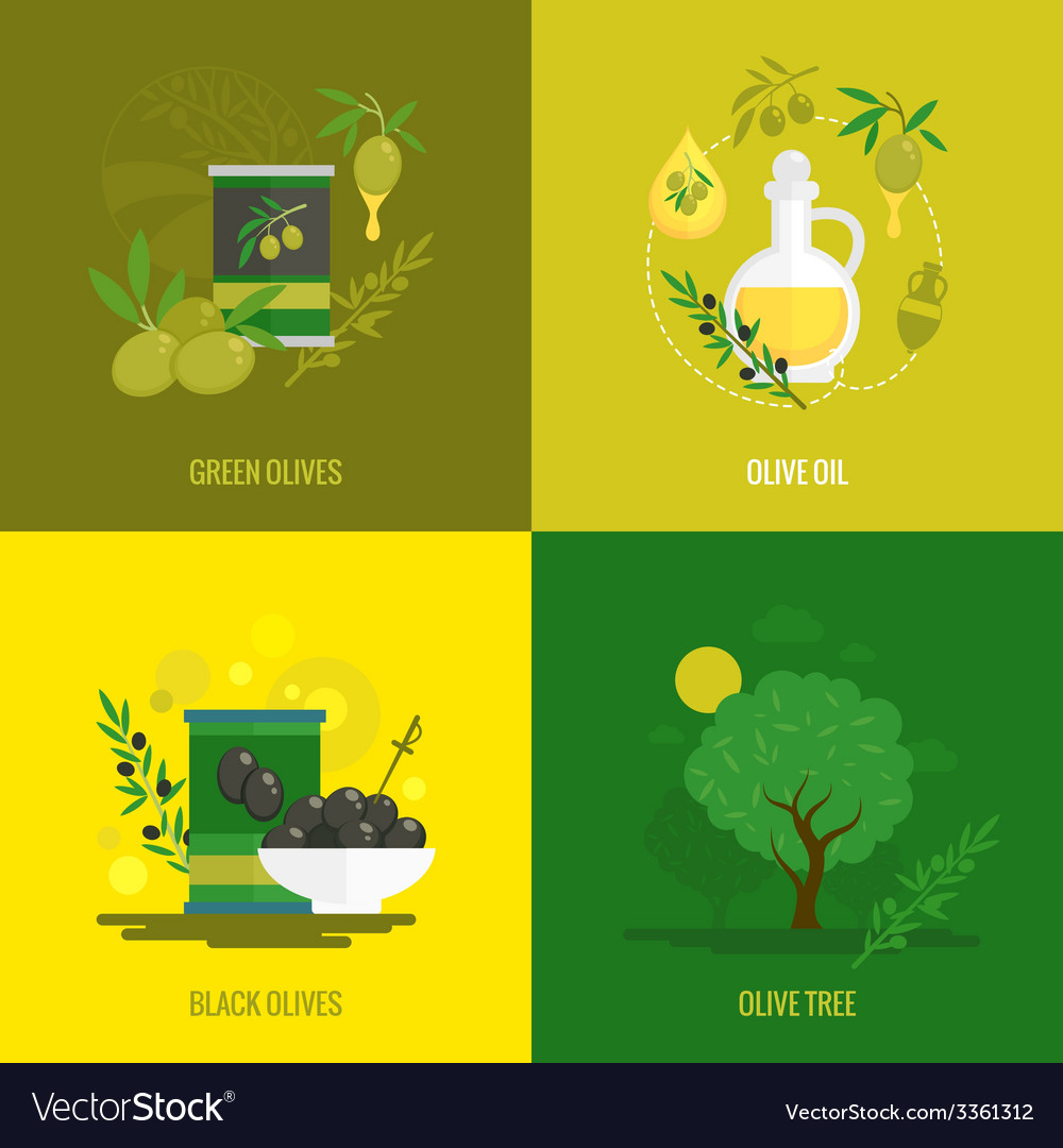 Olives mini poster set vector | Price: 1 Credit (USD $1)