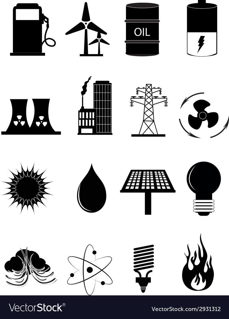 Power energy icons set vector
