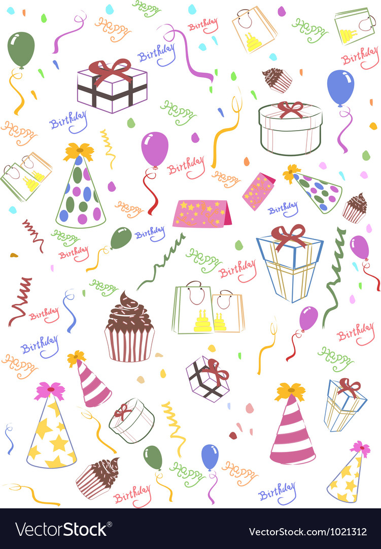 Seamless happy birthday background vector | Price: 1 Credit (USD $1)