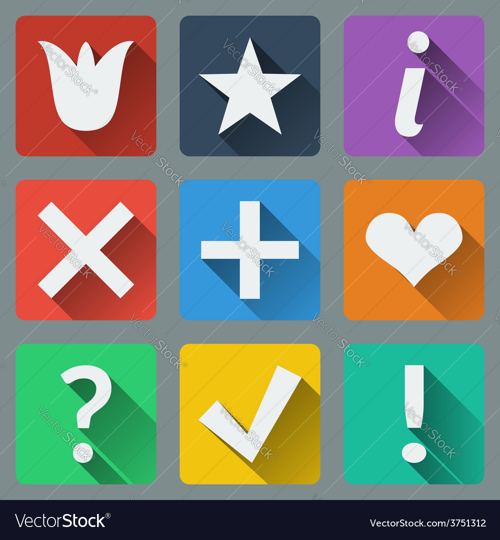 Set of stylish colorful icons vector | Price: 1 Credit (USD $1)