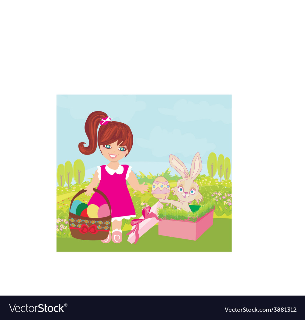 Sweet girl and easter bunny vector | Price: 1 Credit (USD $1)