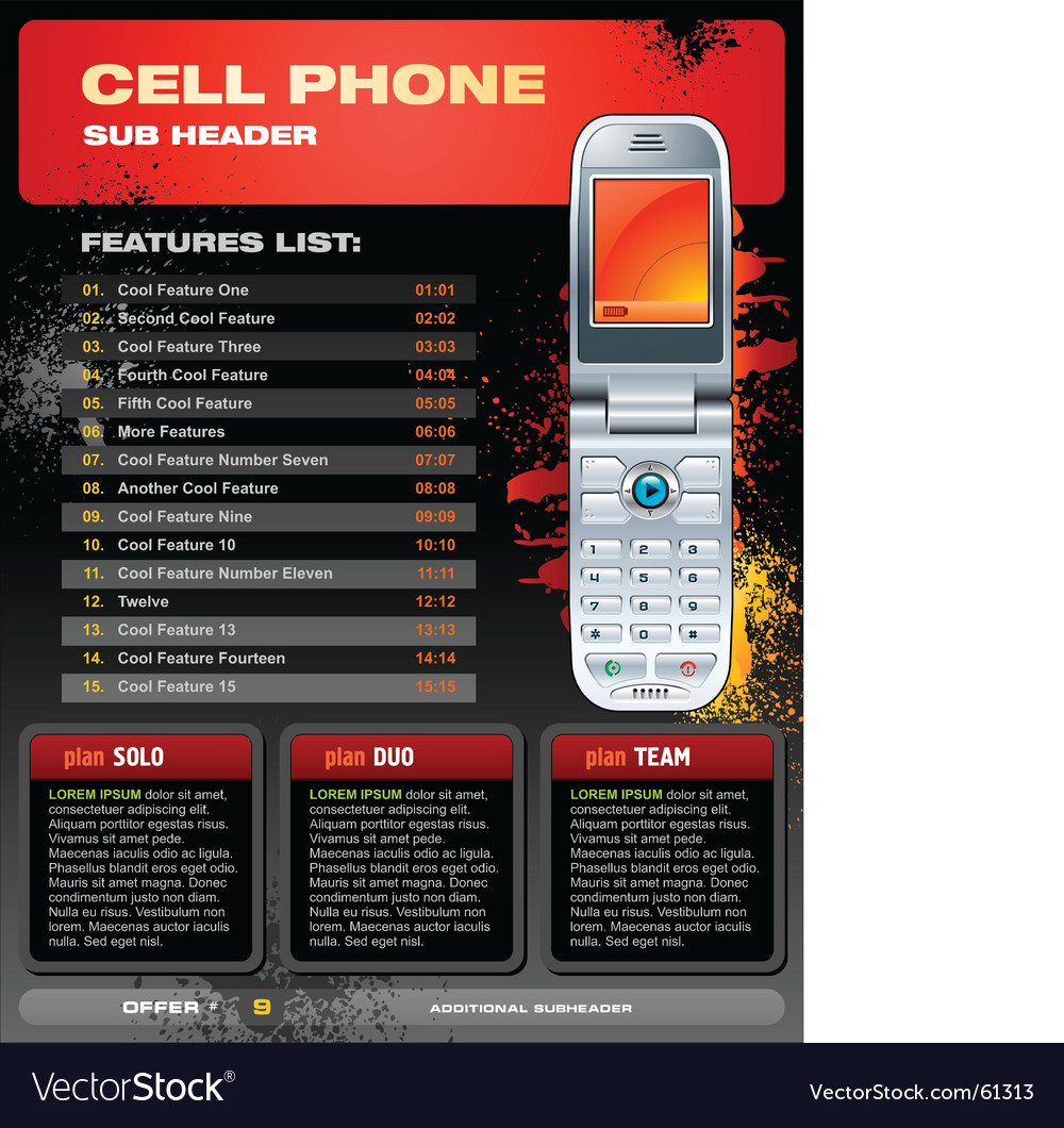 Cell phone promotional brochure vector | Price: 3 Credit (USD $3)
