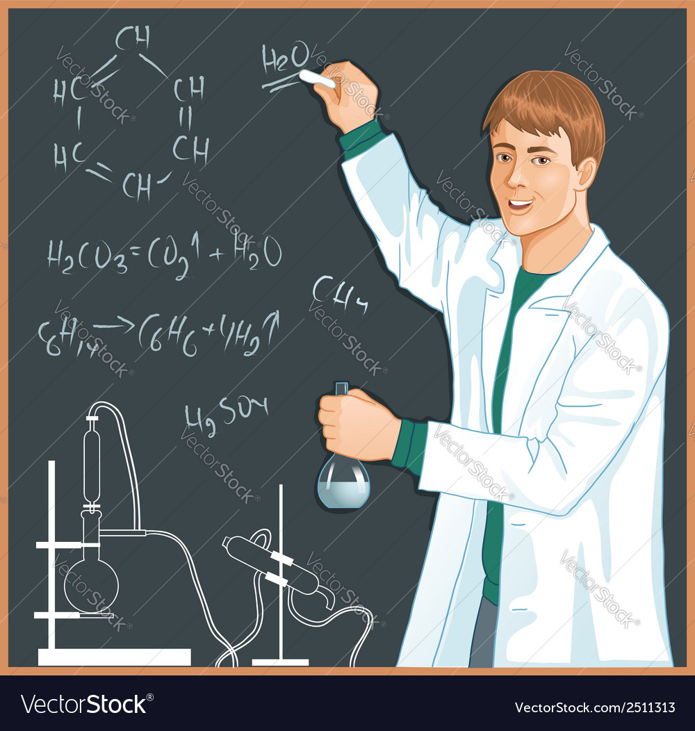 Chemist at blackboard vector | Price: 1 Credit (USD $1)
