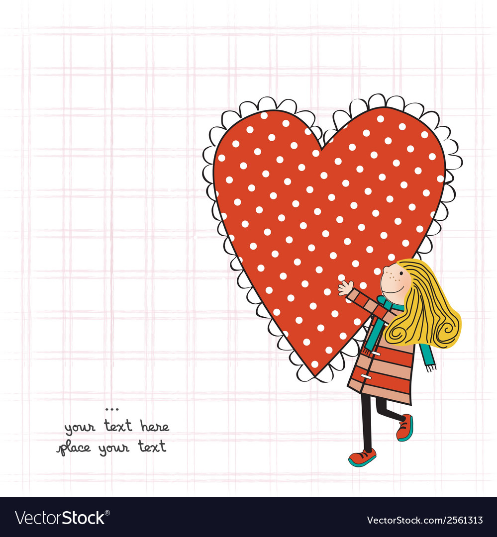 Funny girl with hearts doodle cartoon character vector | Price: 1 Credit (USD $1)