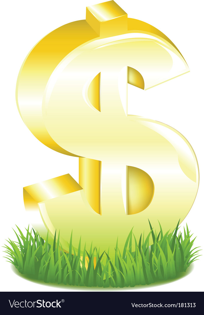 Golden dollar sign in grass vector | Price: 1 Credit (USD $1)