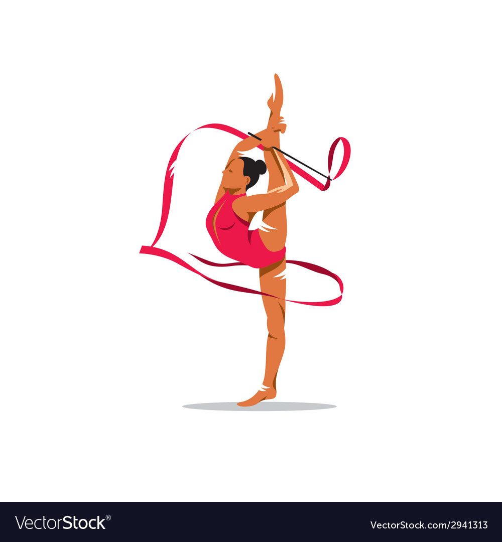 Gymnastics with ribbon sign vector | Price: 1 Credit (USD $1)