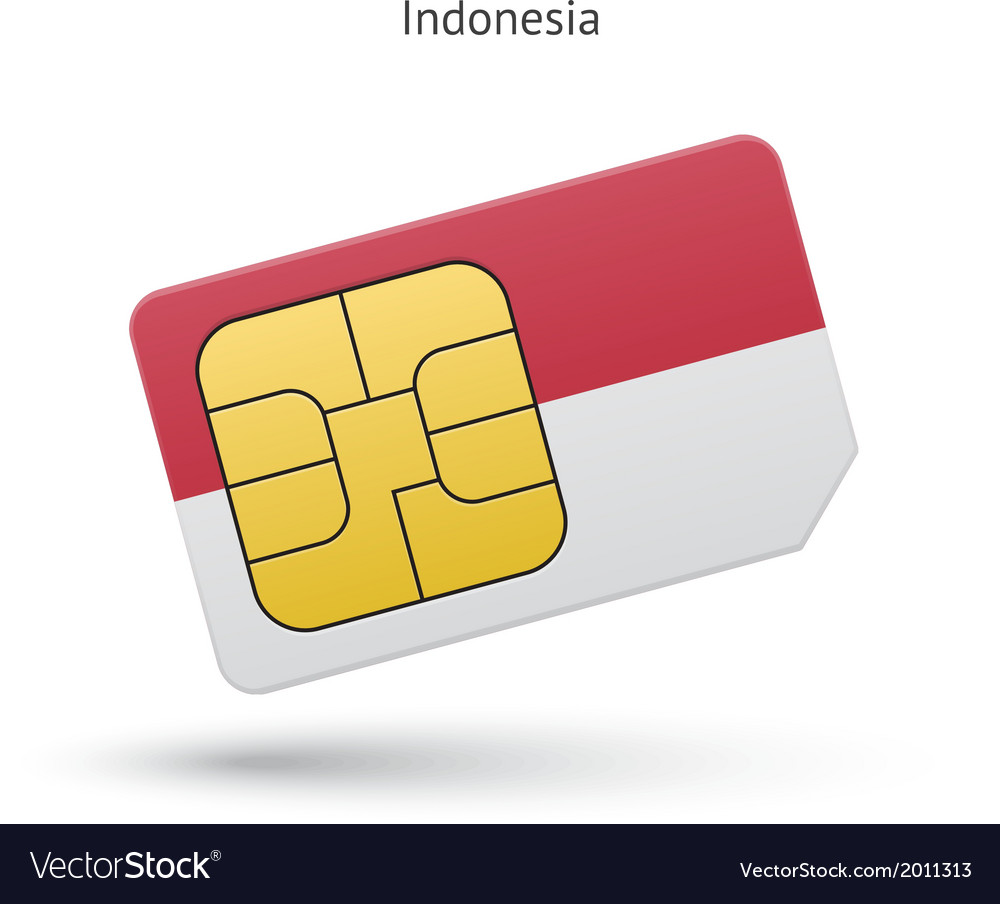 Indonesia mobile phone sim card with flag vector | Price: 1 Credit (USD $1)