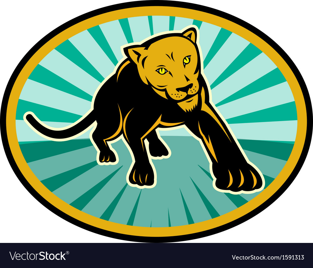 Lion or cougar crawling towards you vector | Price: 1 Credit (USD $1)