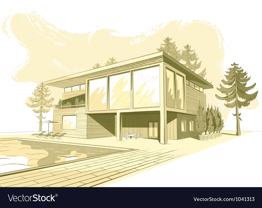 Sepia background with modern house with swimming vector | Price: 3 Credit (USD $3)