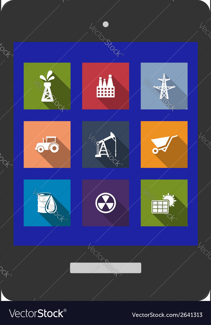 Set of flat industrial icons vector | Price: 1 Credit (USD $1)