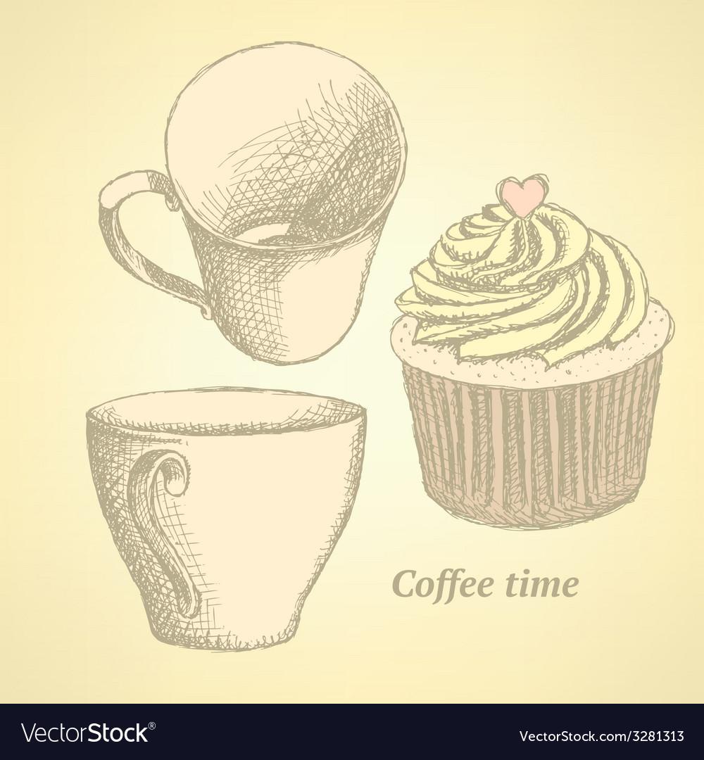 Sketch coffee set in vintage style vector | Price: 1 Credit (USD $1)