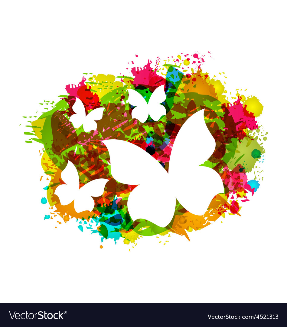 White butterflies on colorful grunge texture vector | Price: 1 Credit (USD $1)