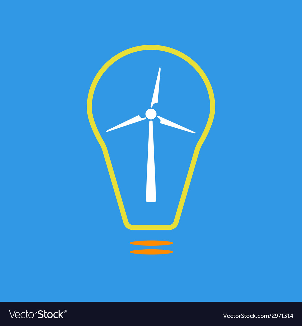 Bulb with wind turbine as eco energy sign vector   Price: 1 Credit (USD $1)