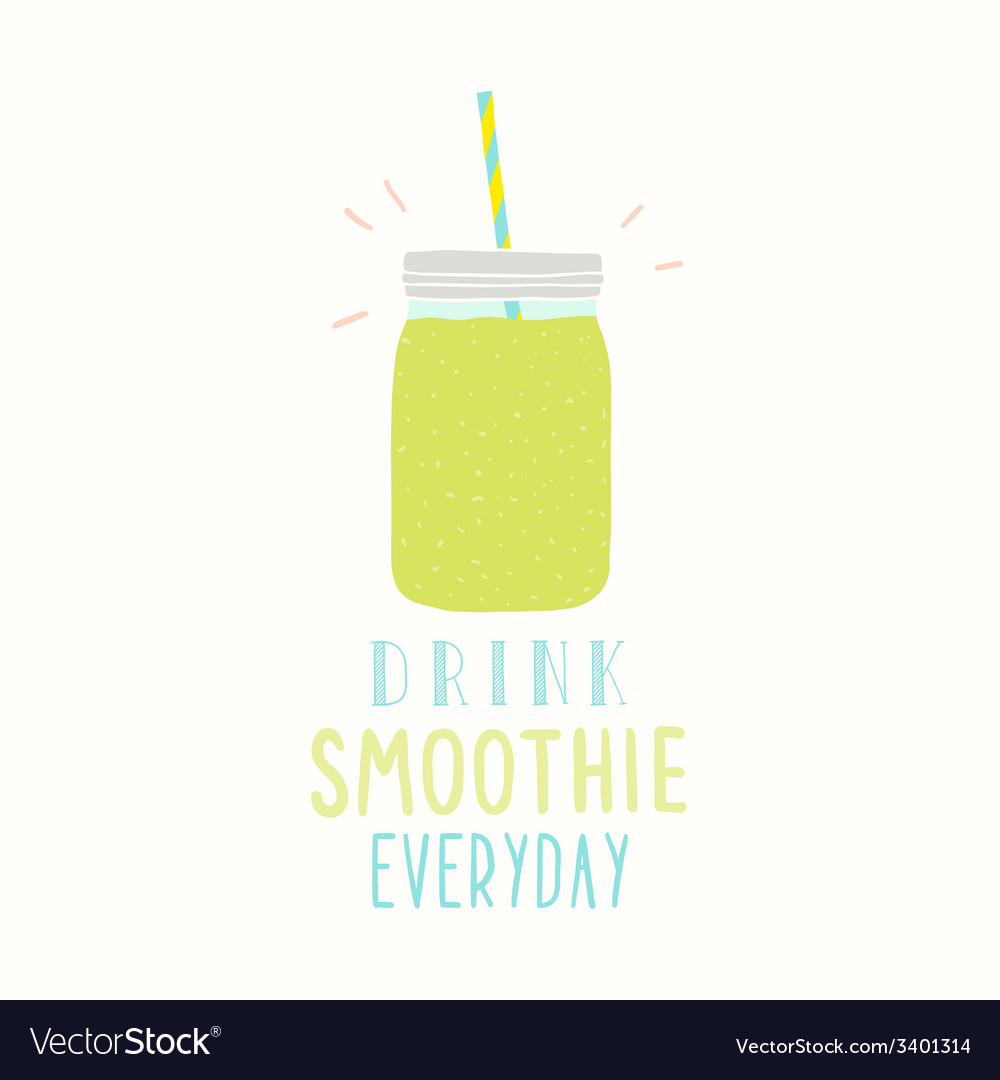 Drink smoothie everyday cute hand drawn jar vector | Price: 1 Credit (USD $1)