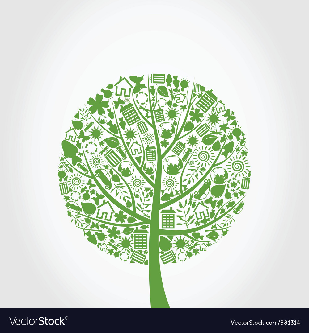 Ecology tree vector | Price: 1 Credit (USD $1)