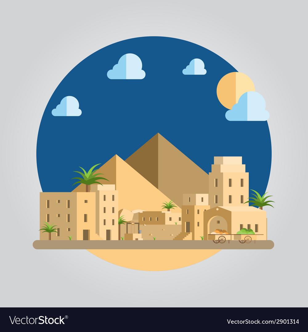 Flat design desert village vector | Price: 1 Credit (USD $1)
