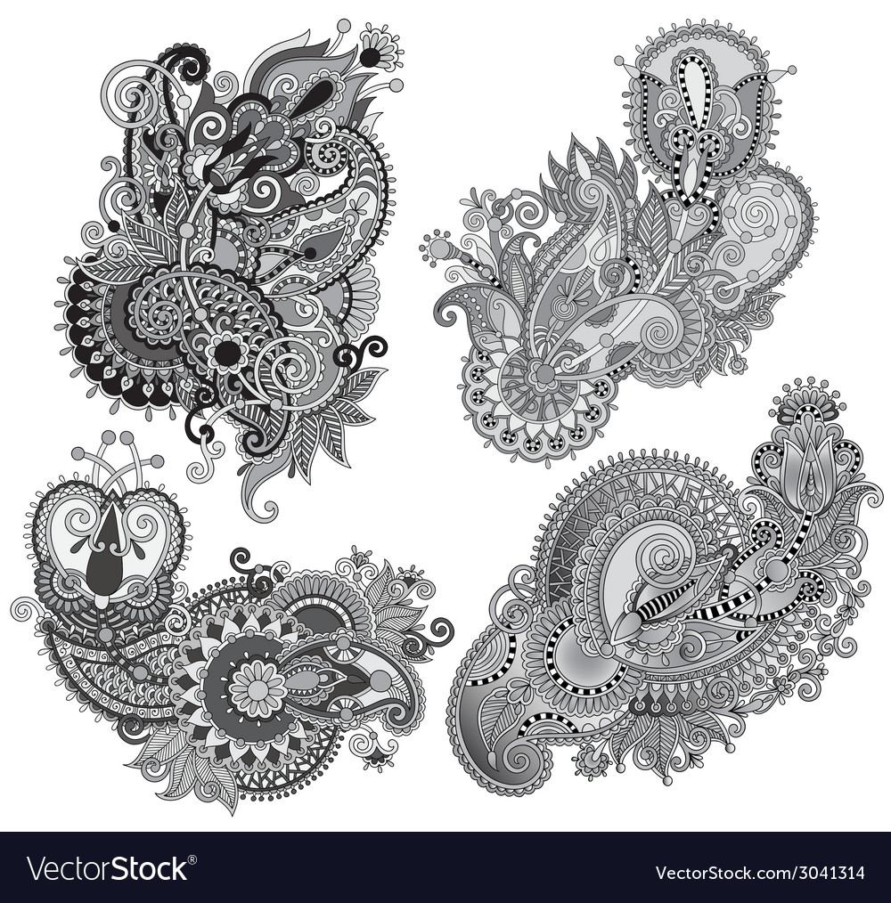 Grey original hand draw line art ornate flower vector | Price: 1 Credit (USD $1)