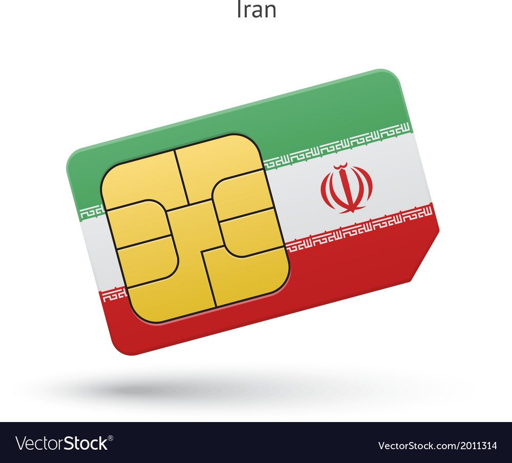Iran mobile phone sim card with flag vector | Price: 1 Credit (USD $1)