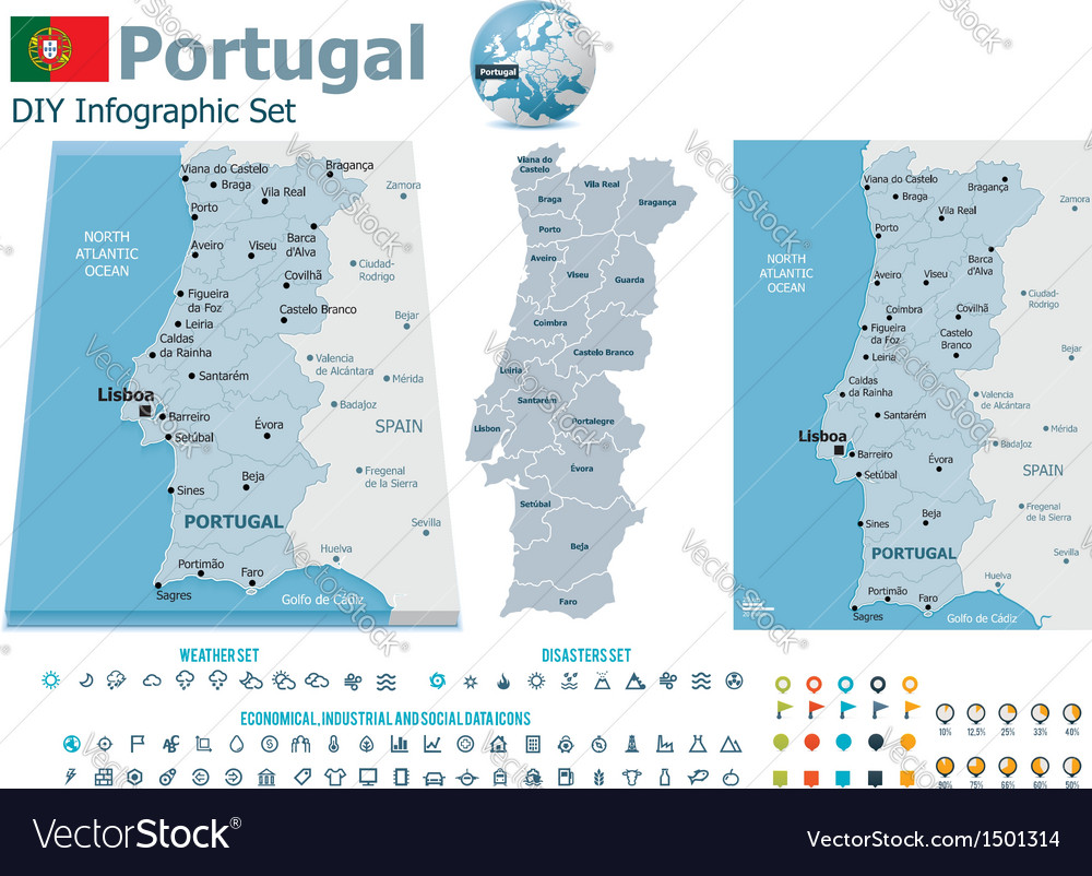 Portugal maps with markers vector | Price: 3 Credit (USD $3)