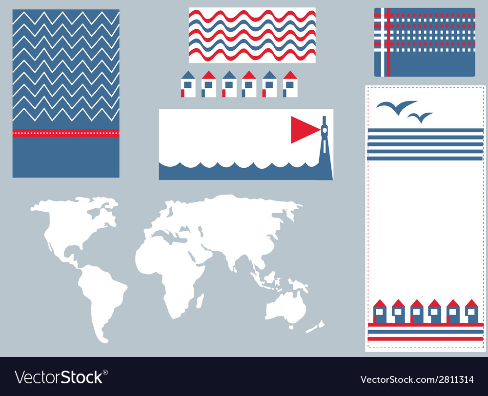 Sea banner and infographic elements set vector | Price: 1 Credit (USD $1)