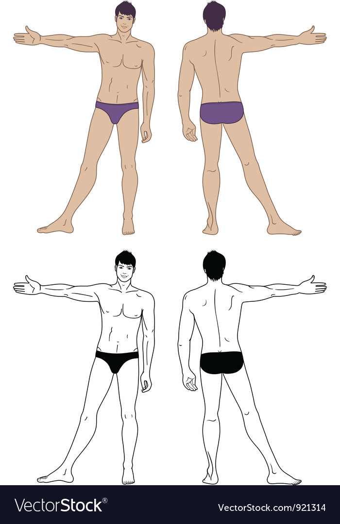 Standing naked man vector | Price: 3 Credit (USD $3)