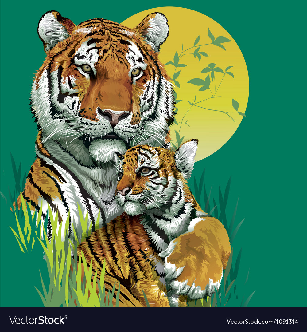 Tiger family in jungle vector | Price: 3 Credit (USD $3)