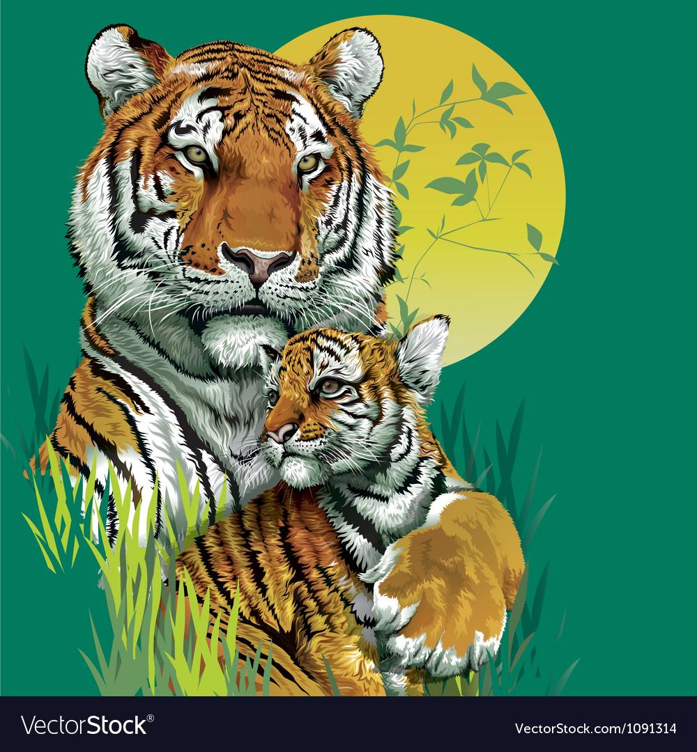 Tiger family in jungle vector | Price: 3 Credit (USD $3)