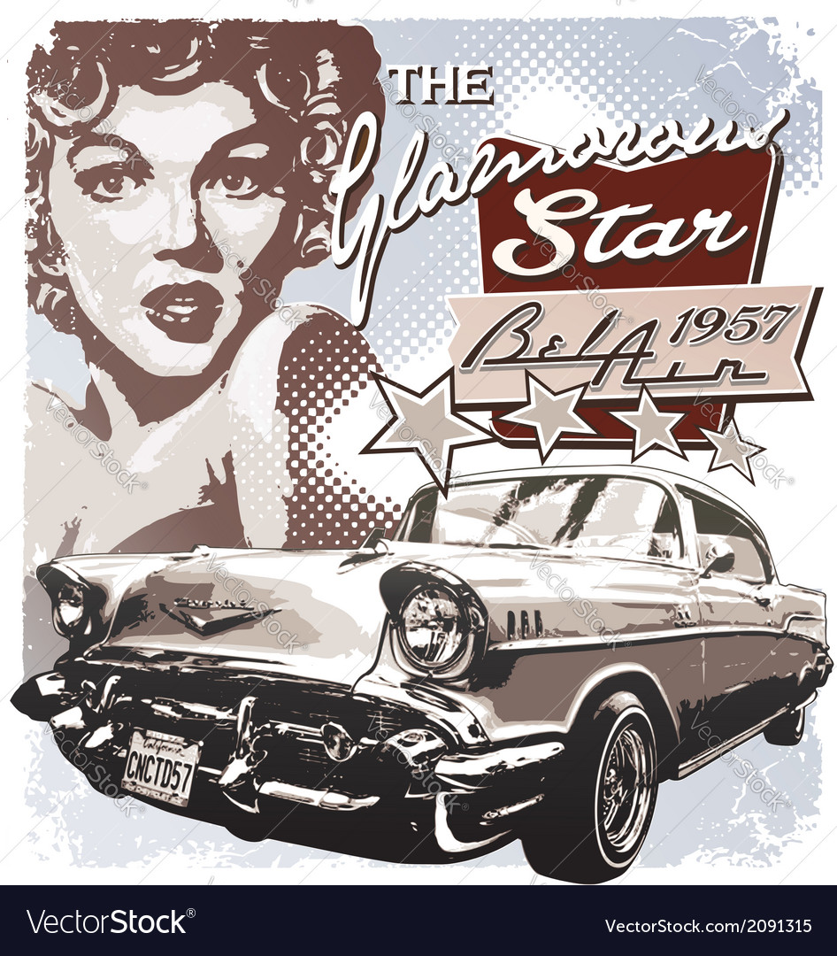 America glamorous 1957 vector | Price: 3 Credit (USD $3)