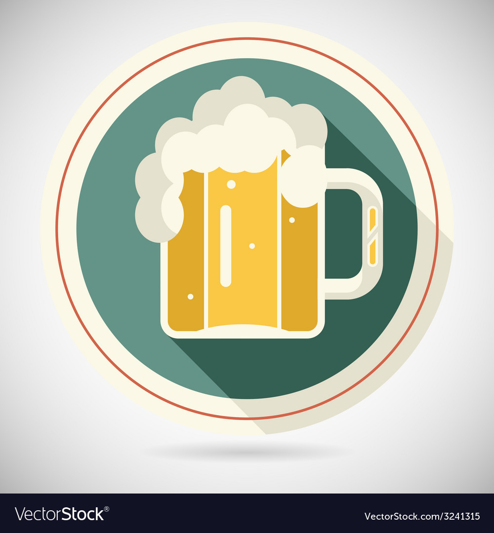 Beer mug with foam retro symbol alcohol icon long vector | Price: 1 Credit (USD $1)