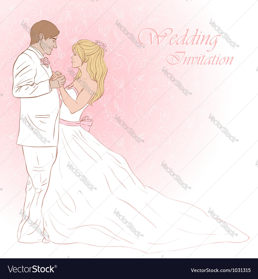 Bride and groom wedding invitation card vector | Price: 3 Credit (USD $3)