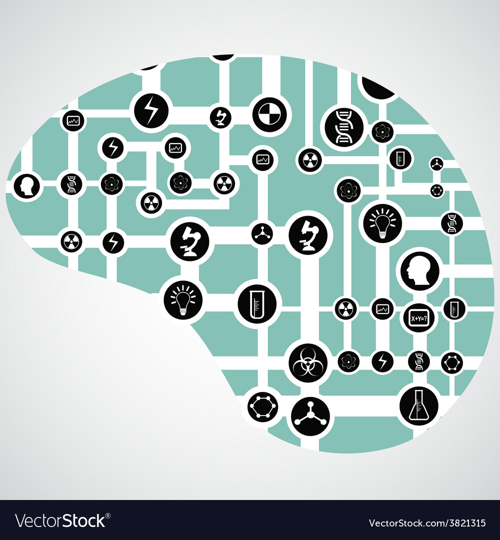 Circuit board with app icons in human brain vector | Price: 1 Credit (USD $1)